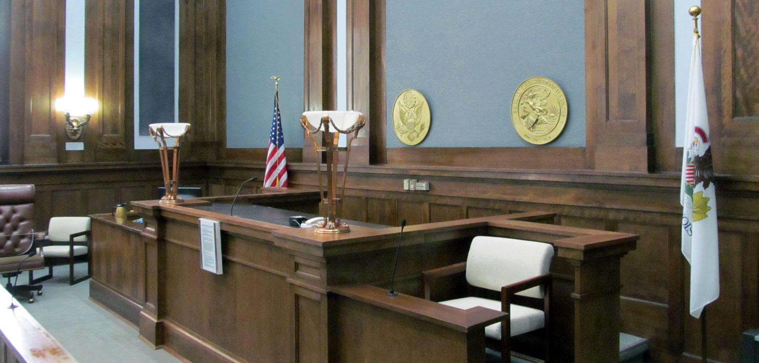 Interior photo of the Vermilion County Courthouse courtroom