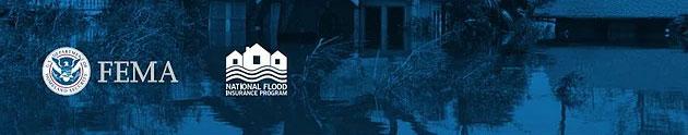 FEMA logo and NFIP logo against a blue background
